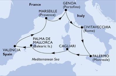 مسیر کروز MSC divina