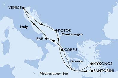 مسیر کروز MSC opera