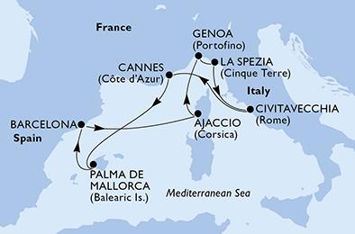 مسیر کروز MSC Seaview